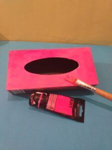 1. Paint black inside of box.