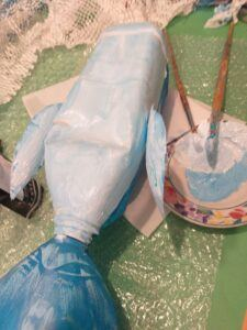 13. Mix a light blue, paint under sides.