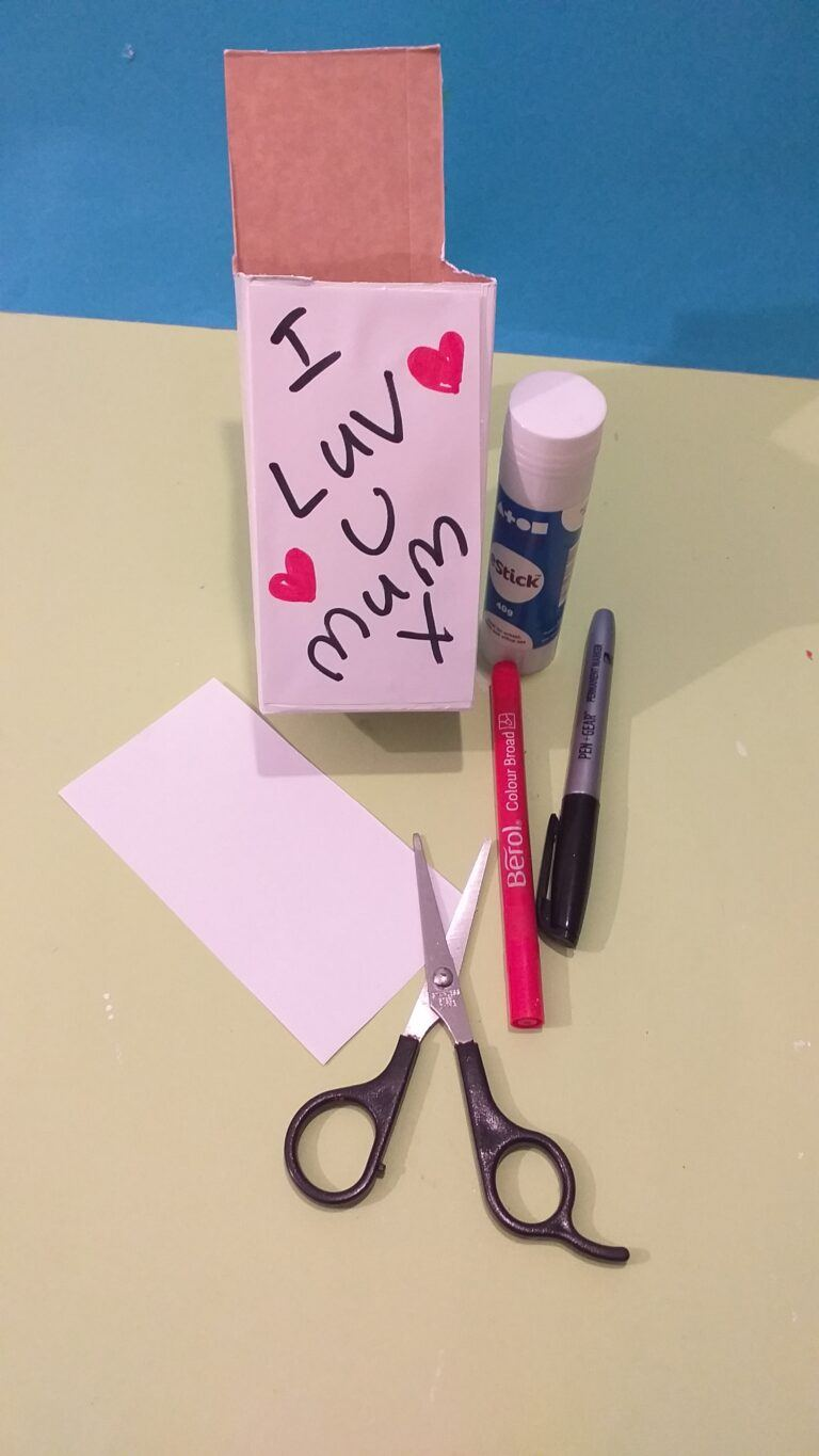 7) Write any message you like, on seperate white paper cut to size and adhere with glue stick.
