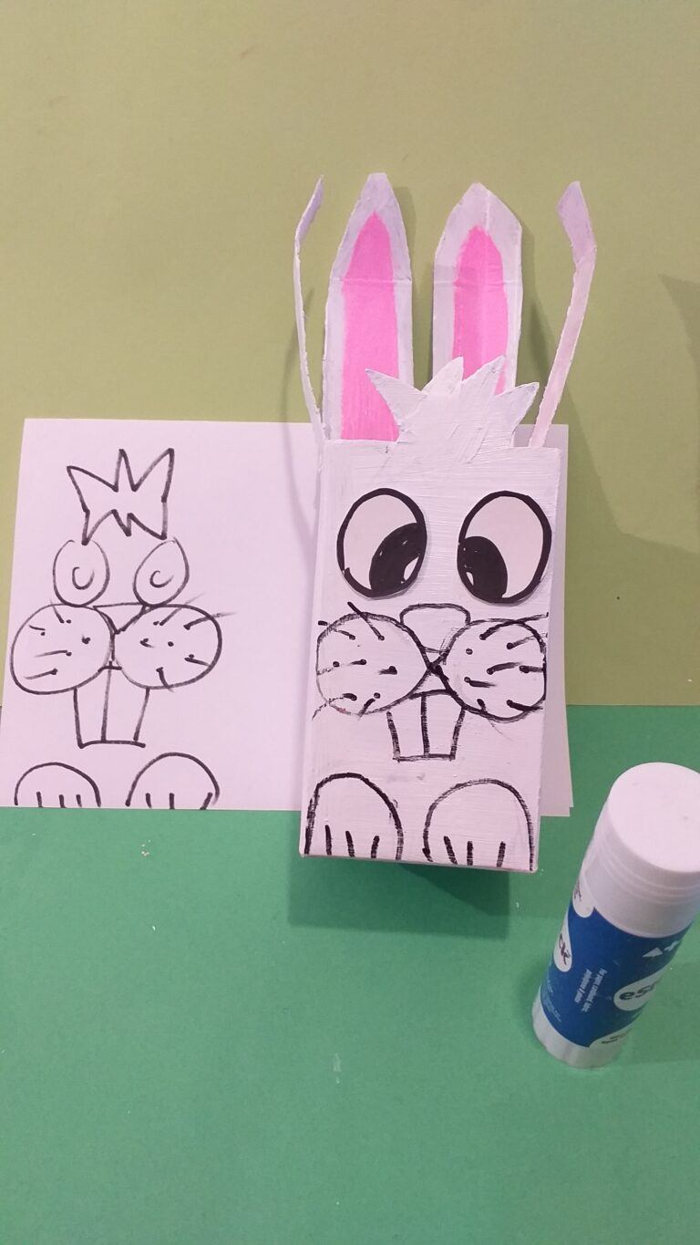 18) Glue eyes on with glue stick and re-draw as close as possible the bunny face.