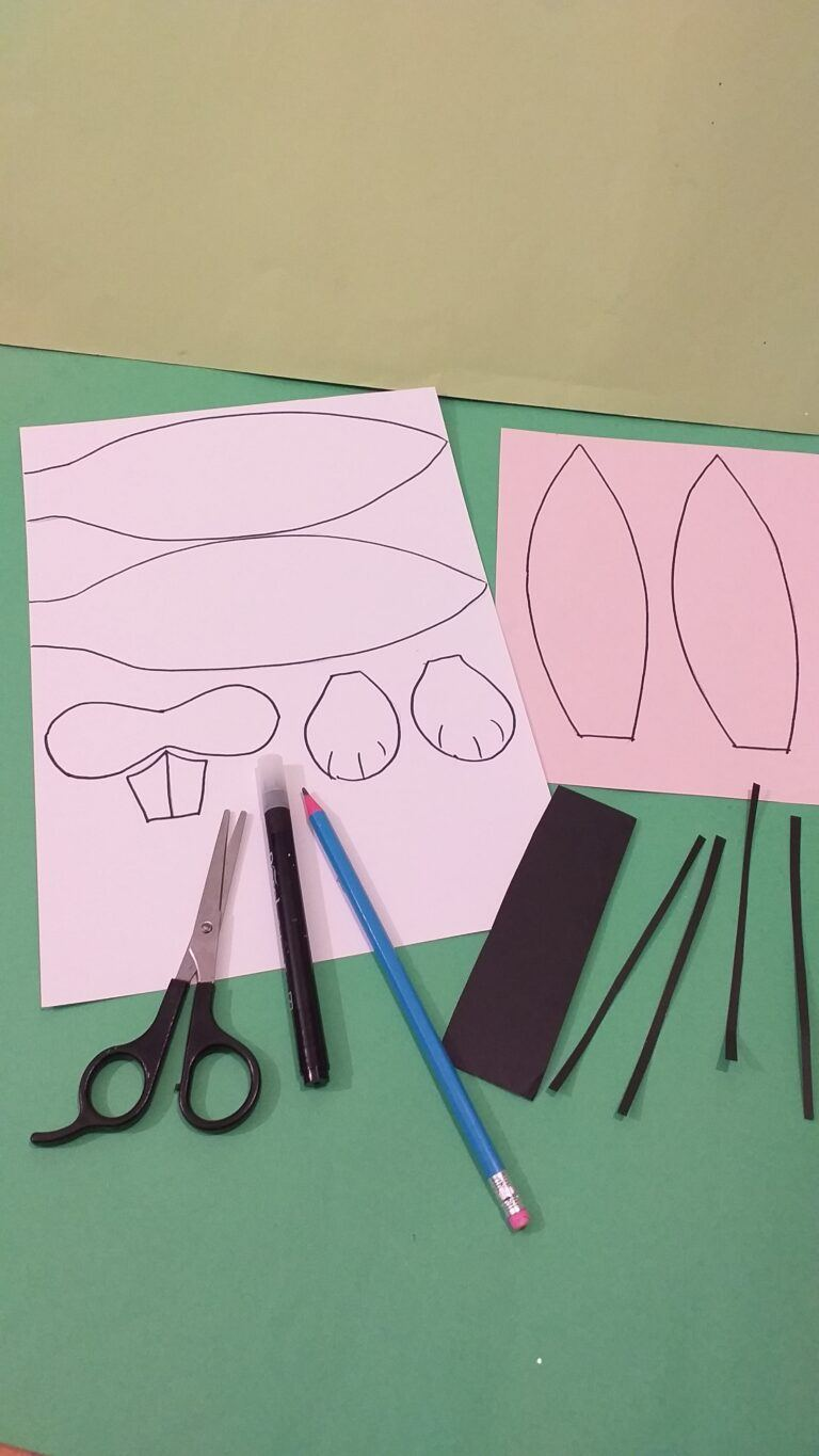 3) Cut out all bunny parts. Cut strips of black card for whiskers.