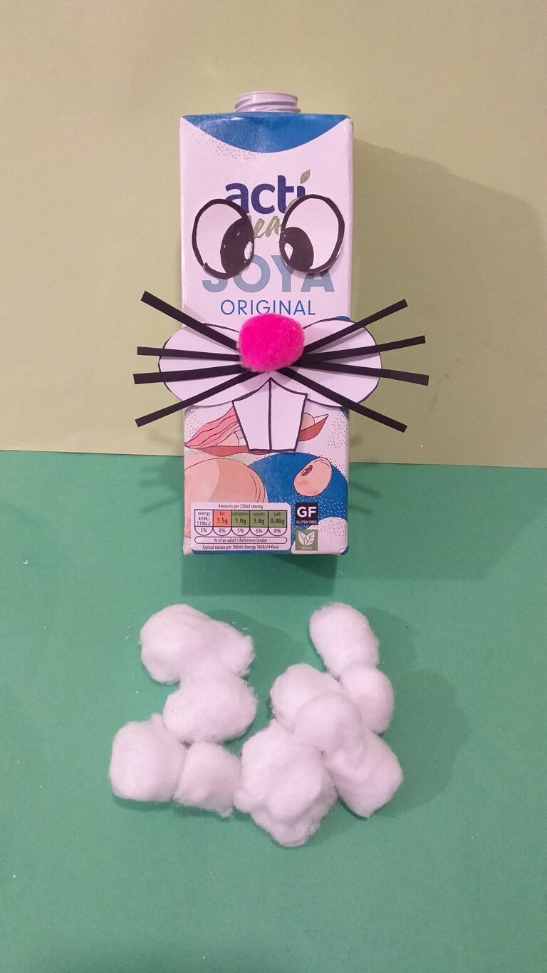 7) Whiskers and pink nose glue on. Get cotton wool balls ready to stick on.