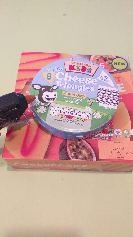 20) Glue cheese box on smaller box.