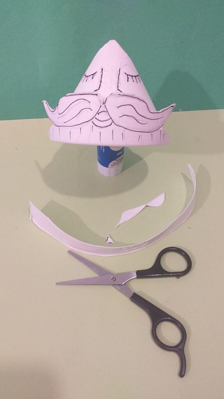 7. Carefully cut around moustache.