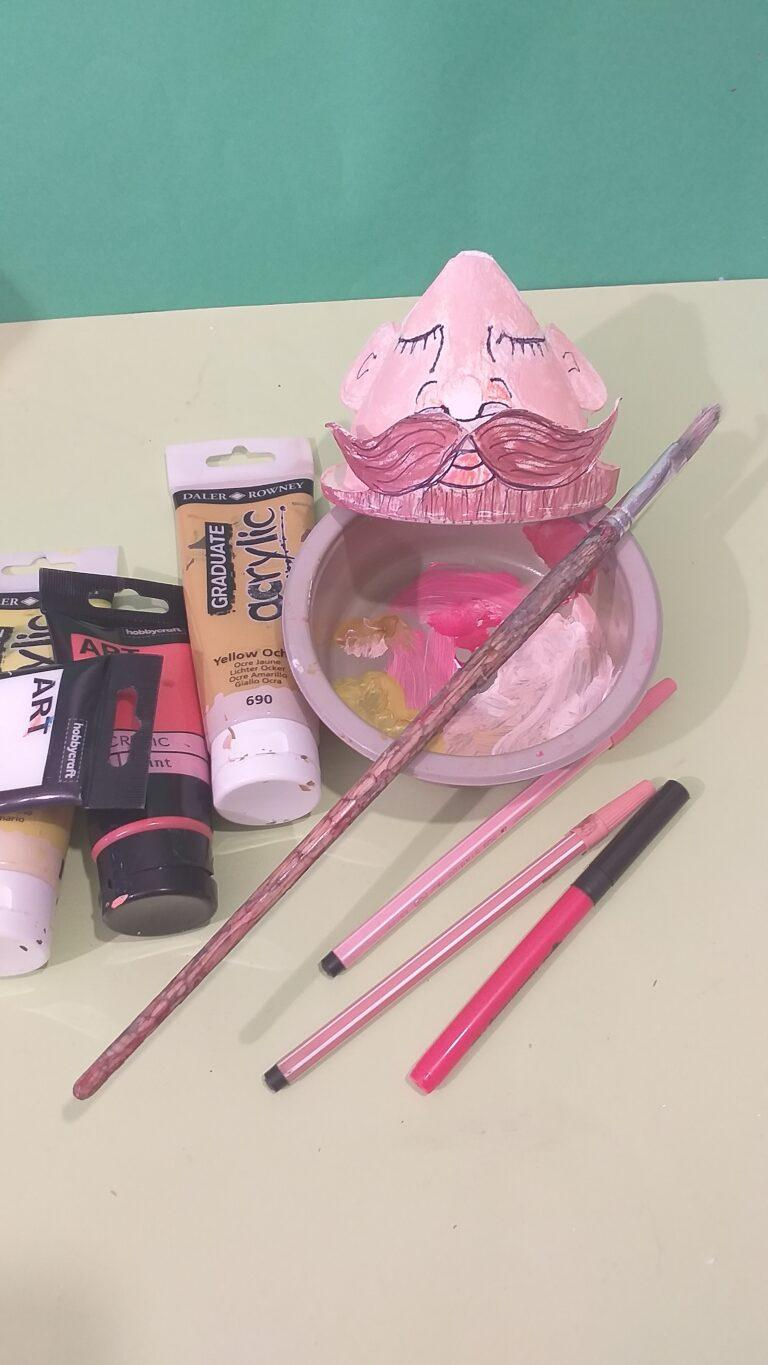 10. Make up your colours use felt tips to start off and paint face.