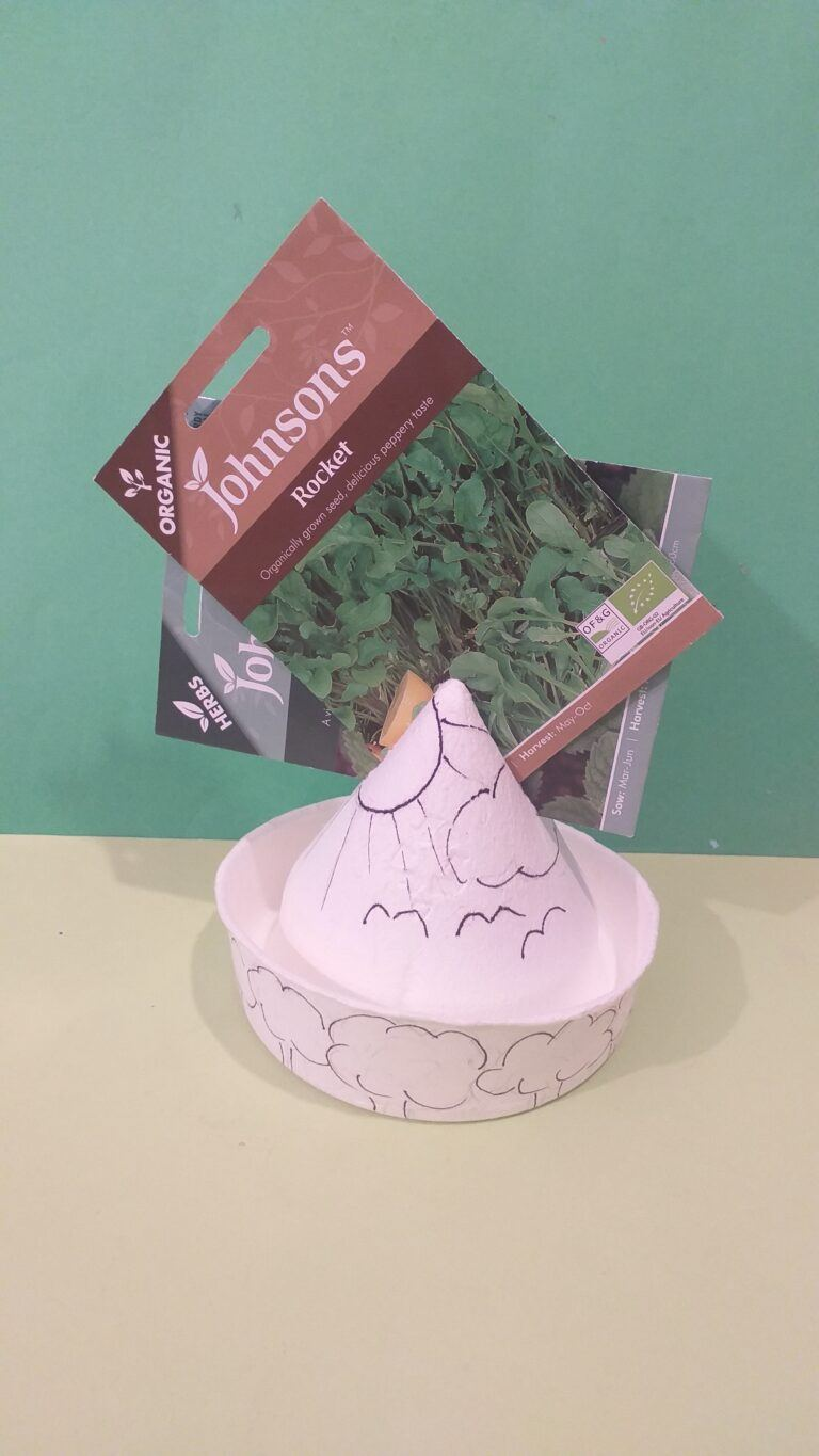 16. Cut the top enough to hold packets, draw garden setting.