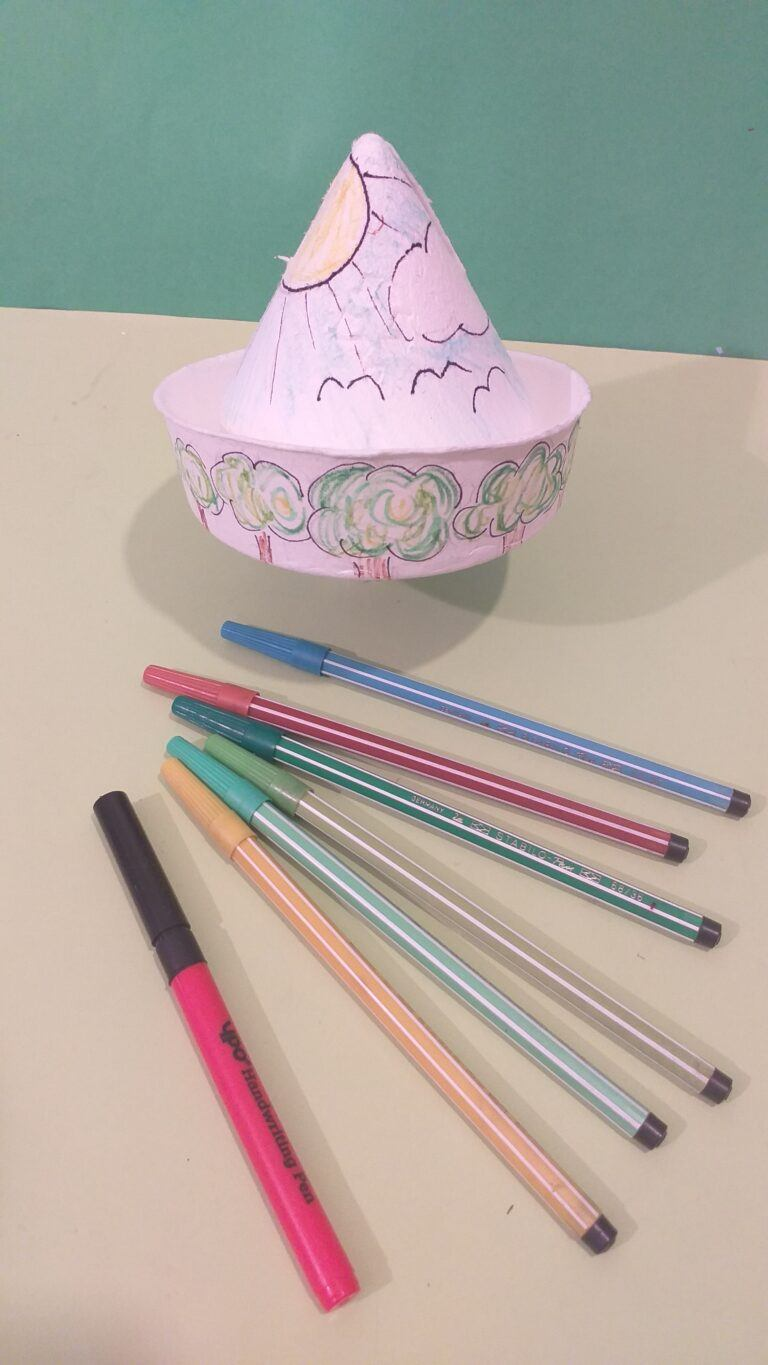 17. Now you can use felt tips to faintly colour in cone.