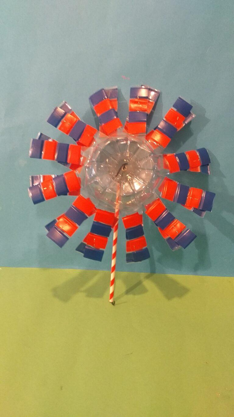 18) This is the finished windmill made from the 2 bottom ends of the bottles.