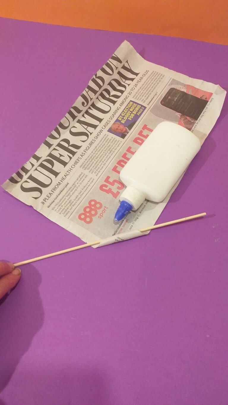 2) Hold and roll add PVA glue as you roll.